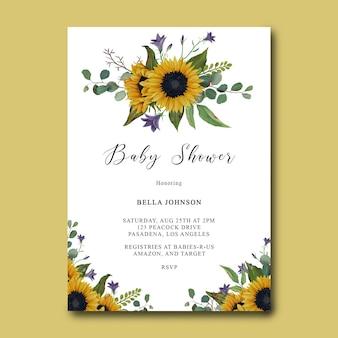 Babypartyschablone mit handgezeichnetem sonnenblumenrahmen