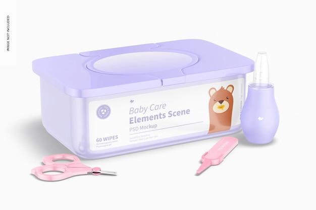 Babypflege-elemente-szenenmodell, ansicht von links