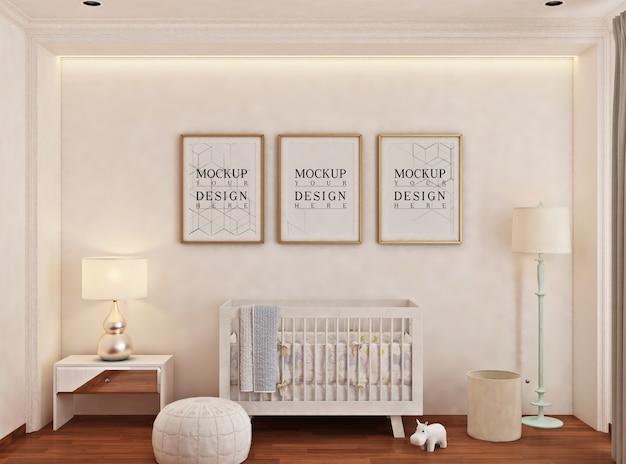 Babyschlafzimmer mit modellplakatrahmen