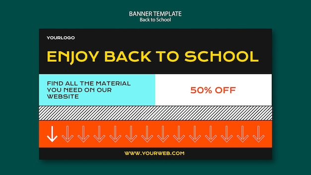 Back to school banner vorlage konzept