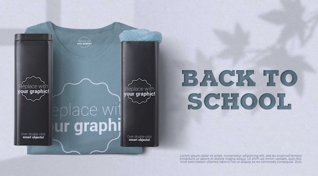 Back-to-school-modell mit shampoo-behältern und kleidung