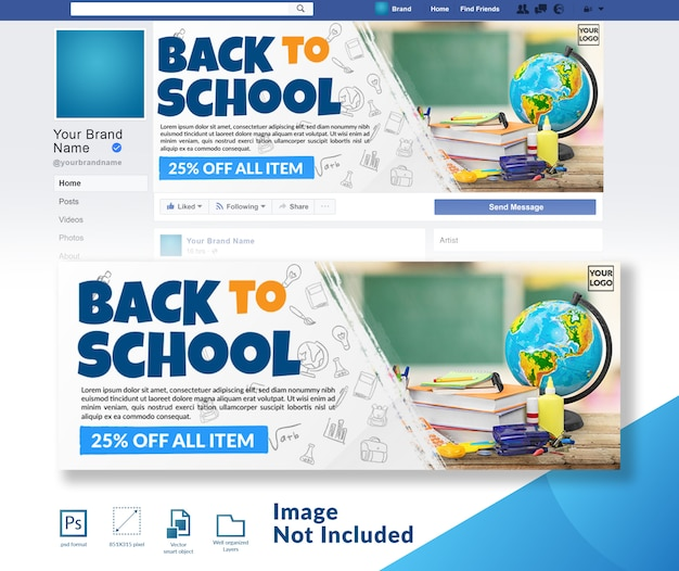Back to school rabatt angebot social media cover vorlage