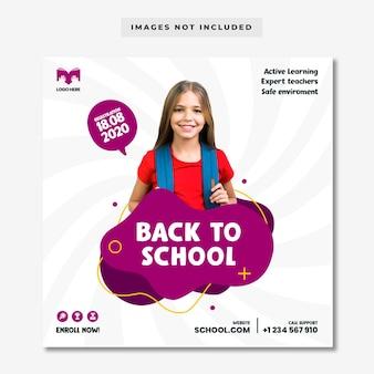 Back to school social media banner vorlage