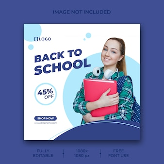 Back to school social media post banner vorlage