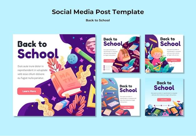 Back to school social media post vorlage