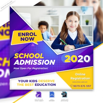 Back to school zulassung marketing social media post oder square flyer vorlage premium psd