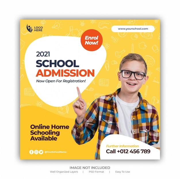 Back to school zulassungsförderung für social media post banner vorlage