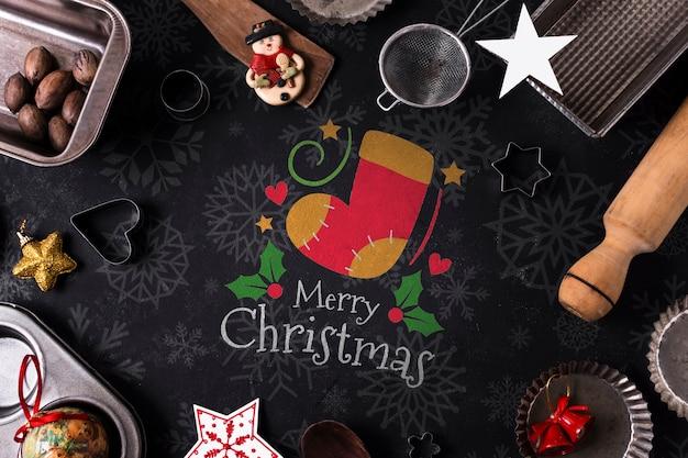 Backenwerkzeuge und snacks für weihnachten