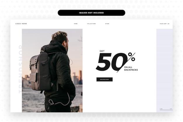 Backpacks sale website landing page