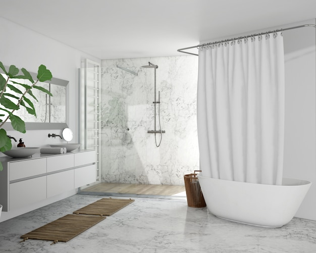 Badewanne mit vorhang, schrank und dusche