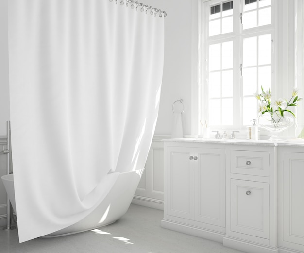 Badewanne mit vorhang, schrank und fenster