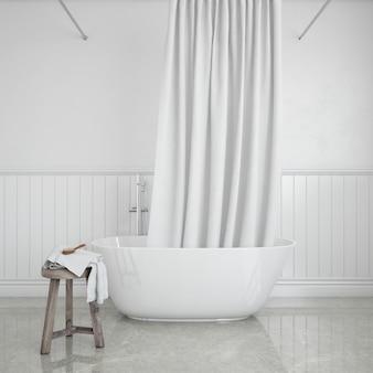 Badewanne mit vorhang und hocker mit handtuch