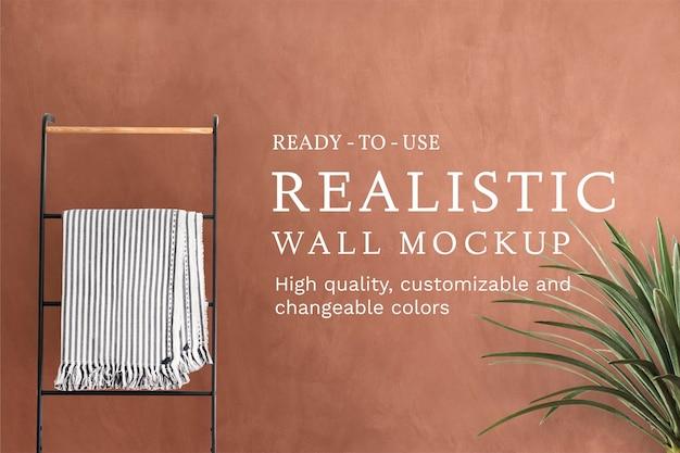 Badezimmer-wandmodell psd mit pflanzen- und kleiderständer