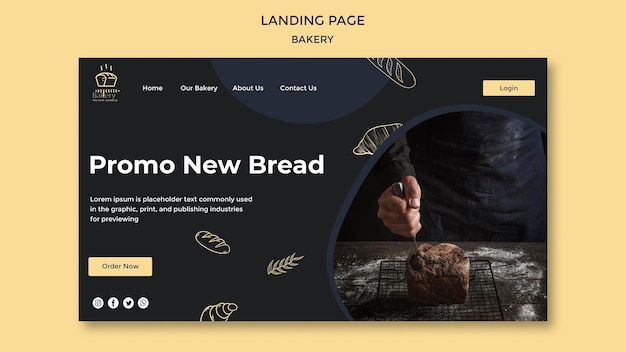Bäckerei anzeige landingpage vorlage