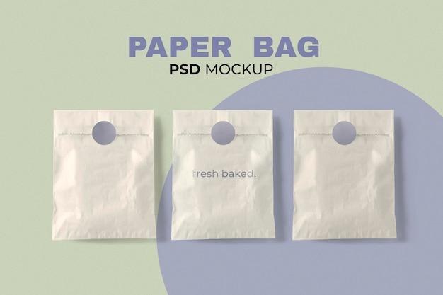 Bäckerei papiertüte mockup psd im minimalistischen stil