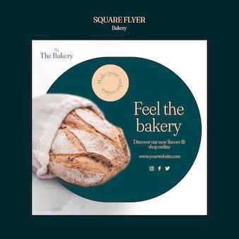 Bäckerei quadratische flyer vorlage