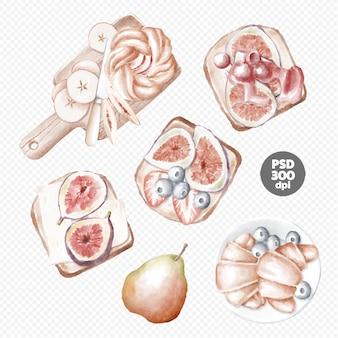 Bäckerei und sandwiches mit handgezeichneten cliparts von früchten