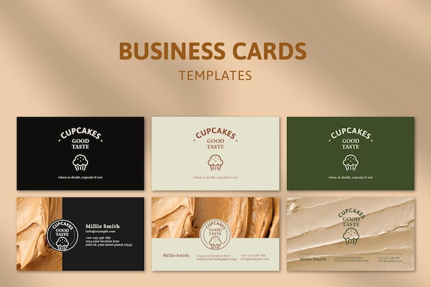 Bäckerei-visitenkarten-vorlagen-psd-set mit zuckerguss-textur