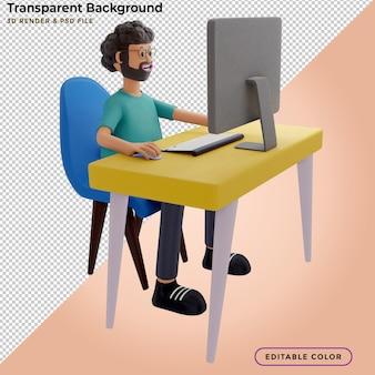 Bärtiger kerl sitzt vor laptop, mann arbeitet am computer. freiberufler, 3d-rendering, 3d-darstellung