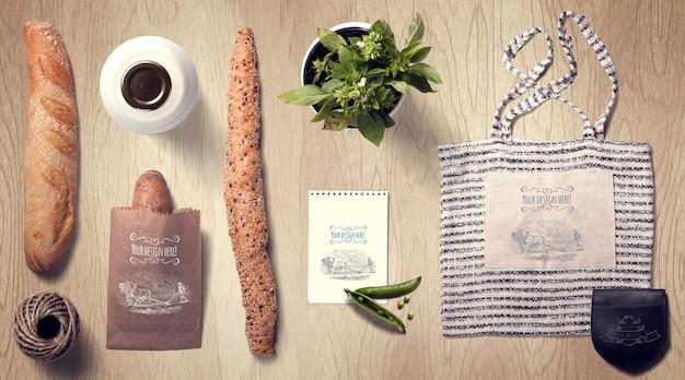 Baguette und einkaufstasche mockup