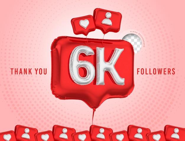 Ballon feier 6k follower danke 3d rendern soziale medien