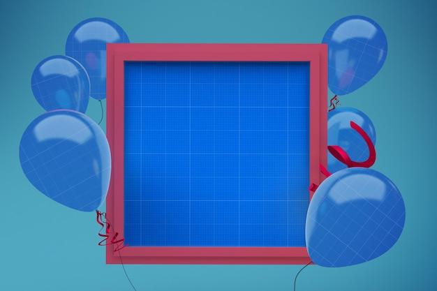 Ballons auf quadratischem rahmen