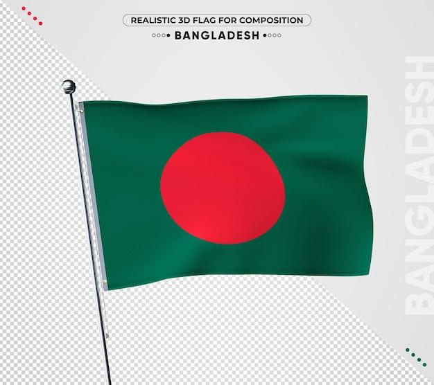 Bangladesch flagge mit realistischer textur