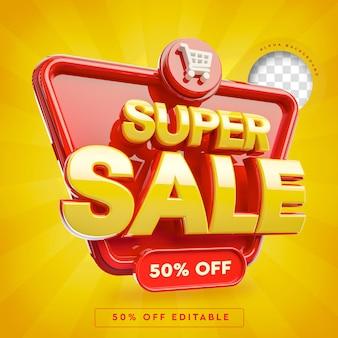 Banner 3d super sale mit 50 rabatt