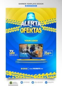 Banner-benachrichtigung über angebote in brasilien rendern 3d-vorlage auf portugiesisch für marketing