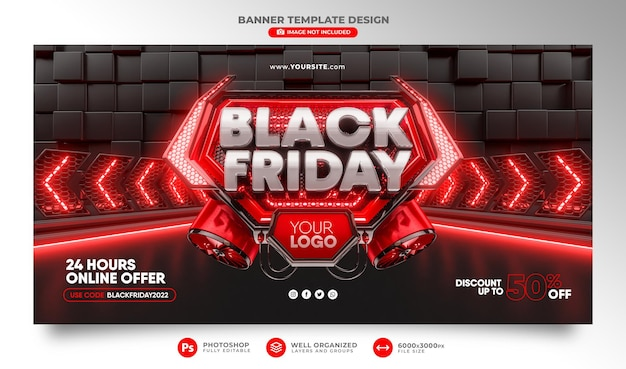 Banner black friday 3d realistisches rendern für werbekampagnen und angebote sonderverkauf