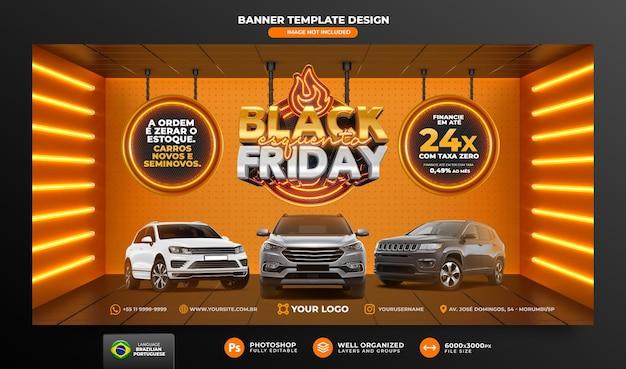 Banner black friday 3d-rendering für marketingkampagnen in brasilien auf portugiesisch