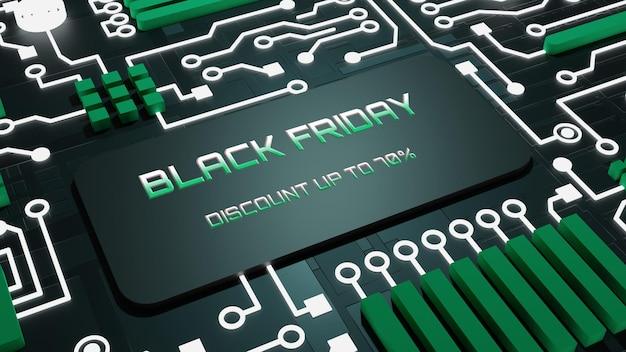 Banner cyber monday 3d-schaltungen neonlicht-technologie