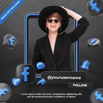 Banner-icon-profil auf facebook 3d-rendering-label isoliert