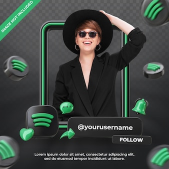 Banner-icon-profil auf spotify 3d-rendering-label isoliert