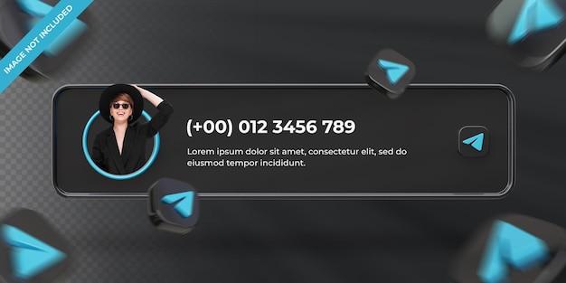 Banner-icon-profil auf telegramm-3d-rendering-label isoliert
