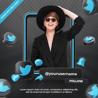 Banner-icon-profil auf twitter 3d-rendering-label isoliert