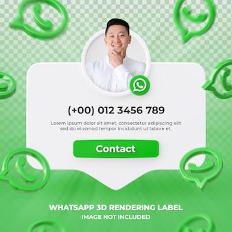 Banner-icon-profil auf whatsapp 3d-rendering-label isoliert