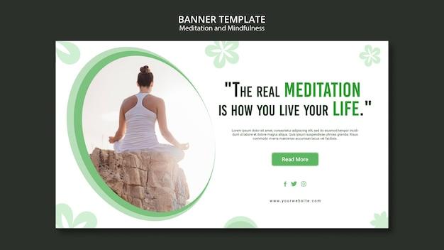 Banner-konzept für meditation und achtsamkeit