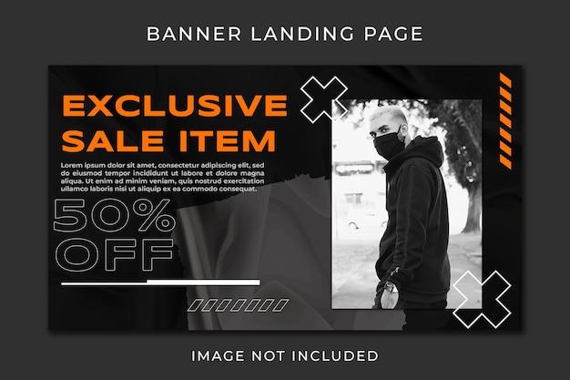 Banner landing page mode zum verkauf vorlage