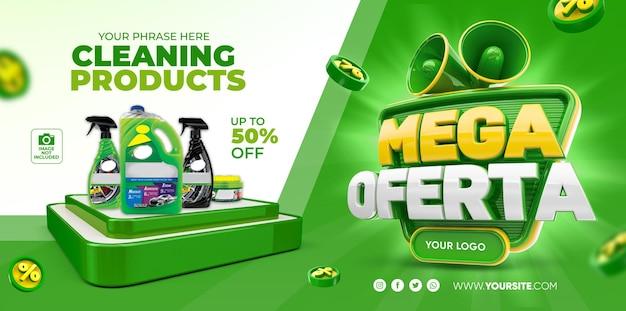 Banner mega angebote für marketingkampagne 3d render template design