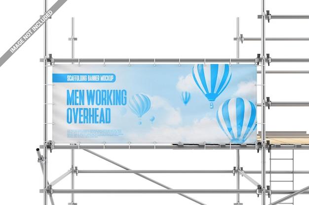 Banner mit ösen auf gerüstmodell