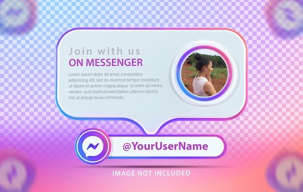 Banner-mockup-profil mit symbol messenger 3d render