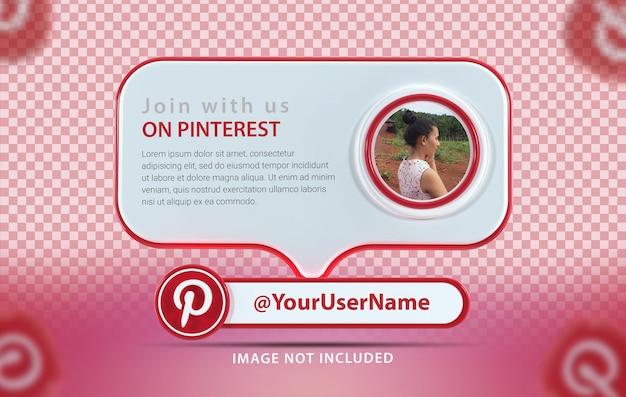 Banner-mockup-profil mit symbol pinterest 3d-rendering