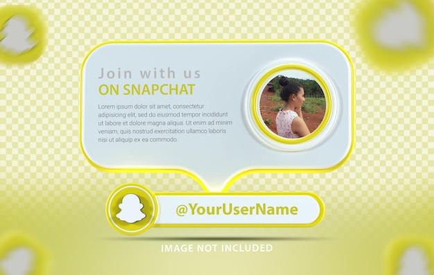 Banner-mockup-profil mit symbol snapchat 3d-rendering
