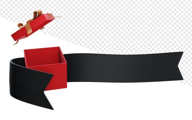 Banner oder band mit geöffneter geschenkbox isoliert