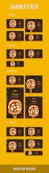 Banner pack in verschiedenen größen mit pizza-thema, psd-datei