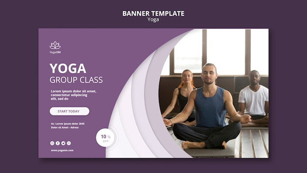 Banner-schablonendesign mit yoga-thema