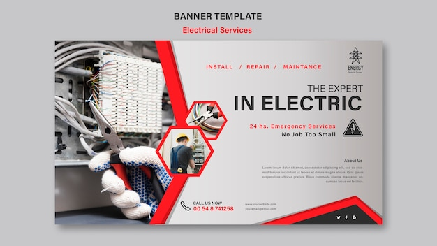 Banner-stil für elektrische dienstleistungen