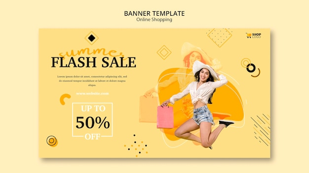 Banner template design online-shopping