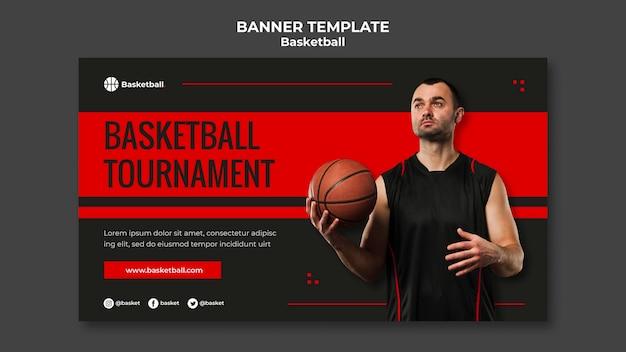 Banner vorlage für basketballspiel mit männlichem spieler